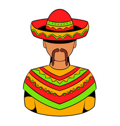 mexican man icon cartoon vector image vector image