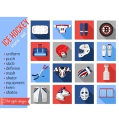Set of flat ice hockey icons vector image vector image