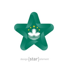 Star with macau flag colors and symbols vector