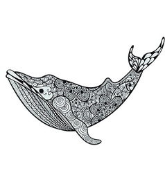 Zentangle stylized Blue Sea Whale Hand Drawn vector image vector image