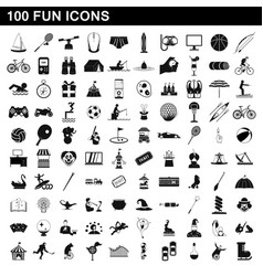 100 fun icons set simple style vector image