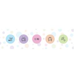 5 antenna icons vector