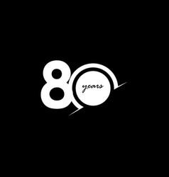 80 years anniversary celebration number white vector