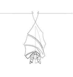 a hanging vampire bat one single line vector image