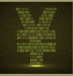 abstract sign yuan binary code with neon light vector image