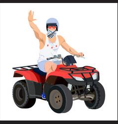 All terrain vehicle rider flat vector