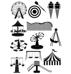 Amusement parks carnival icons set vector