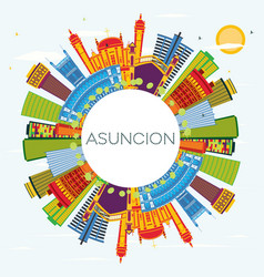 asuncion paraguay city skyline with color vector image