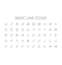 basic line icon set vector image