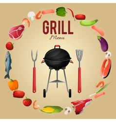 Bbq menu poster vector image