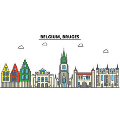 Belgium bruges city skyline architecture vector