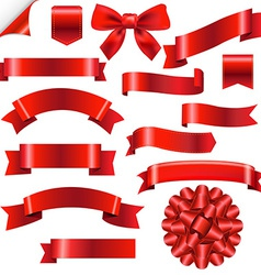 Big Red Ribbons Set vector