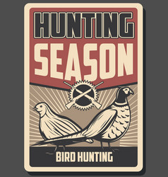 Bird hunting poster rifle pheasant and quail vector