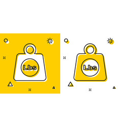 Black weight pounds icon isolated on yellow and vector