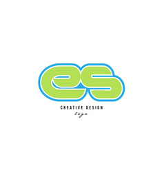 Blue green alphabet letter es e s logo icon design vector