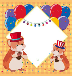 border template with two hamsters and colorful vector image