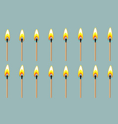 Burning match animation sprite on gray background vector