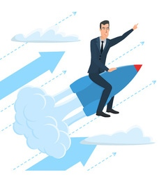 Businessman flying on a rocket on sky startup vector image