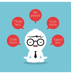 Businessman meditating with positive thinking vector