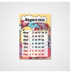 Calendar design with doodle abstract monsters vector