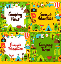 camping lettering posters set vector image