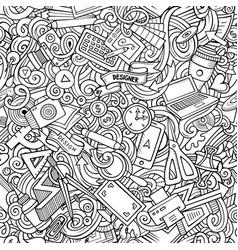 cartoon cute doodles hand drawn designer seamless vector image