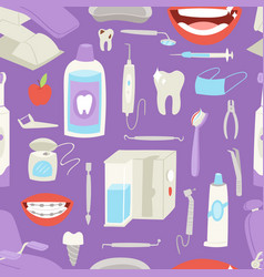 cartoon dentist doctor character and stomatology vector image