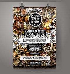 cartoon hand drawn doodles coffee poster design vector image