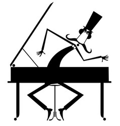 cartoon mustache pianist is playing music on piano vector image