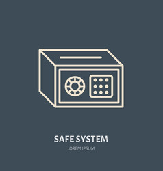 Cash safe flat line icons retail store vector