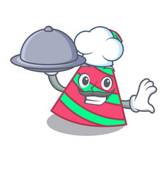 Chef with food party hat mascot cartoon vector