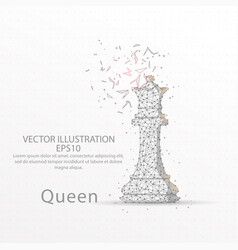 Chess queen low poly wire frame on white vector