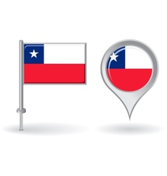 Chilean pin icon and map pointer flag vector