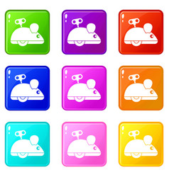 clockwork mouse icons 9 set vector image