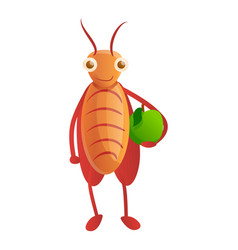 Cockroach with green apple icon cartoon style vector
