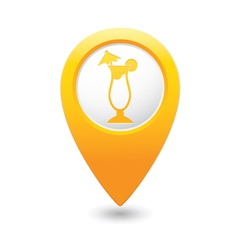 Coctail icon on map pointer yellow vector