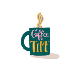 Coffee time shirt quote lettering vector