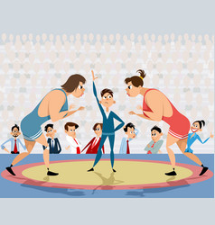 competition of free-style wrestling vector image