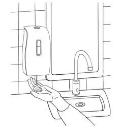 Concept male hand use automatic liquid soap foam vector