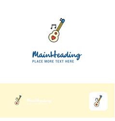 creative love guitar logo design flat color logo vector image