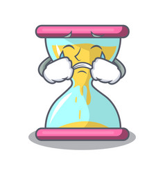 Crying modern hourglass on the table cartoon vector