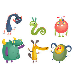 Cute cartoon monsters set vector