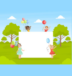 Cute happy kids with colorful balloons holding vector
