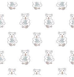 Cute koala line seamless pattern for baby vector
