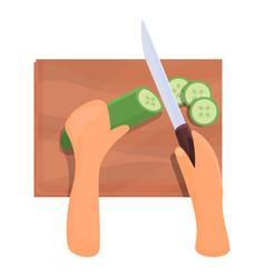 Cutting cucumber icon cartoon style vector
