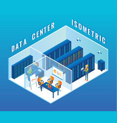 Data center cutaway interior flat isometric vector