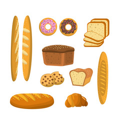 Delicious breads donuts and cookies bakery vector
