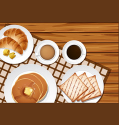 Different menu for breakfast on wooden table vector