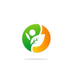 Ecology leaf people nature logo vector