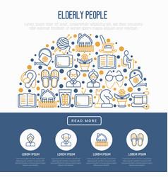 Elderly people concept in half circle vector